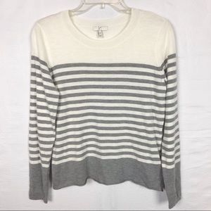 JOIE Cream/ Gray Stripped Sweater XS